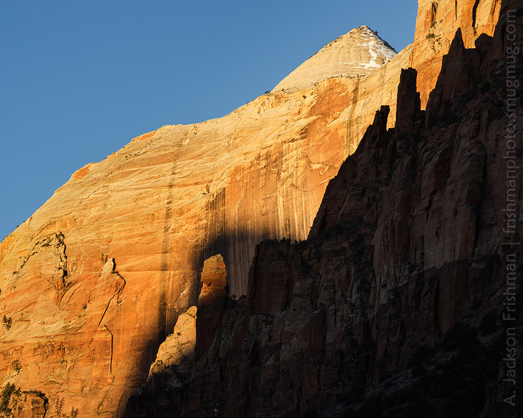 Sunrise on the Streaked Wall, Zion National Park, Utah, March 2013.