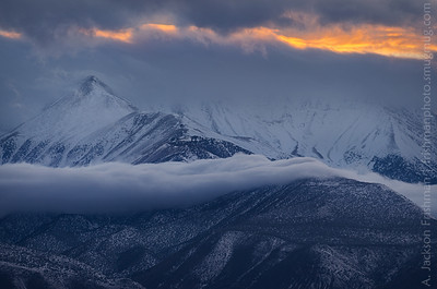 Sunset through winter storm, White Mountains, California, March 2014.