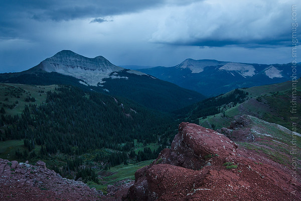 Engineer Mountain viewed from Jura Knob under evening storm, San Juan Mountains, Colorado